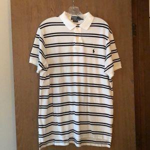NWOT XL men's Ralph Lauren white/black stripe polo